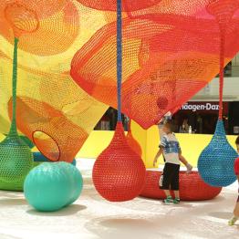 彩色拼色绳编织圆球吊球秋千 游乐场幼儿园商场配件