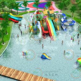 大型水上乐园设备水上互动水寨戏水小品玻璃钢滑梯定做