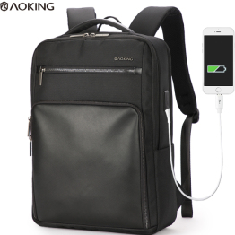 Aoking 带USB充电口男士黑色商务背包